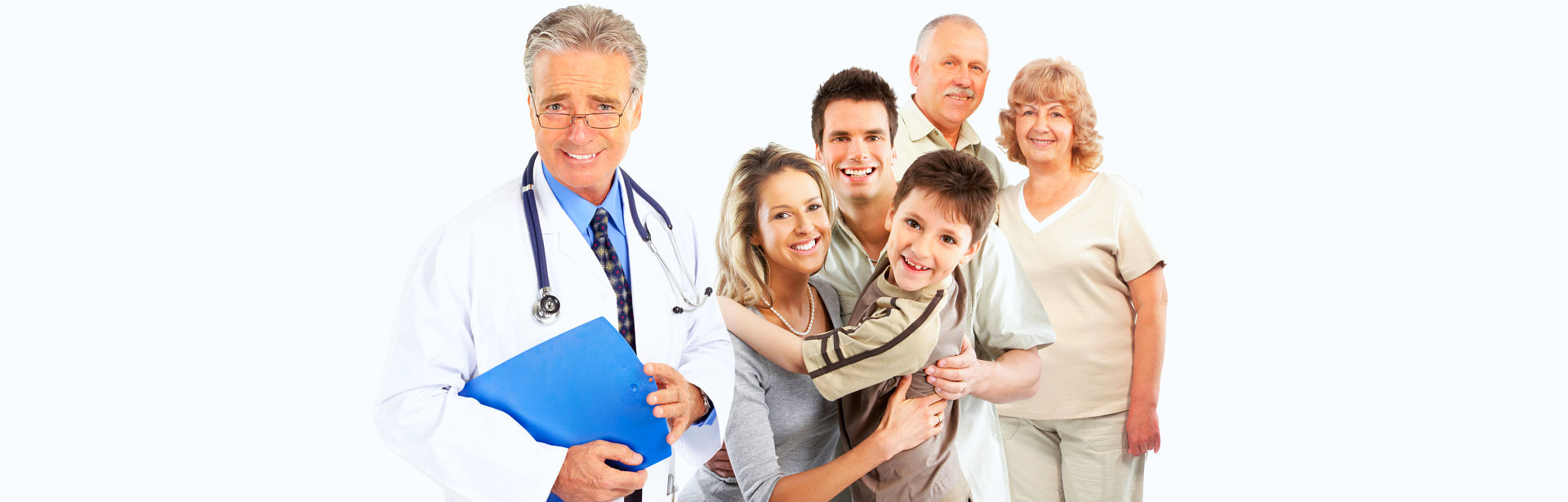 doctor together with the family looks happy